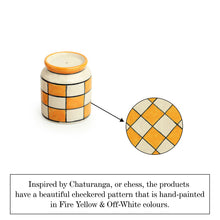 Load image into Gallery viewer, 'Shatranj Checkered' Hand-painted Salt & Pepper Shakers In Ceramic (Set of 2, 80 ML)