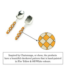Load image into Gallery viewer, 'Shatranj Checkered' Hand-Painted Serving Spoon Set In Stainless Steel & Ceramic (Set of 2)