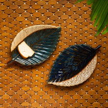 Load image into Gallery viewer, 'The Banana Leaf' Serving Platters In Ceramic (Set Of 2, 13 Inch, Microwave Safe)