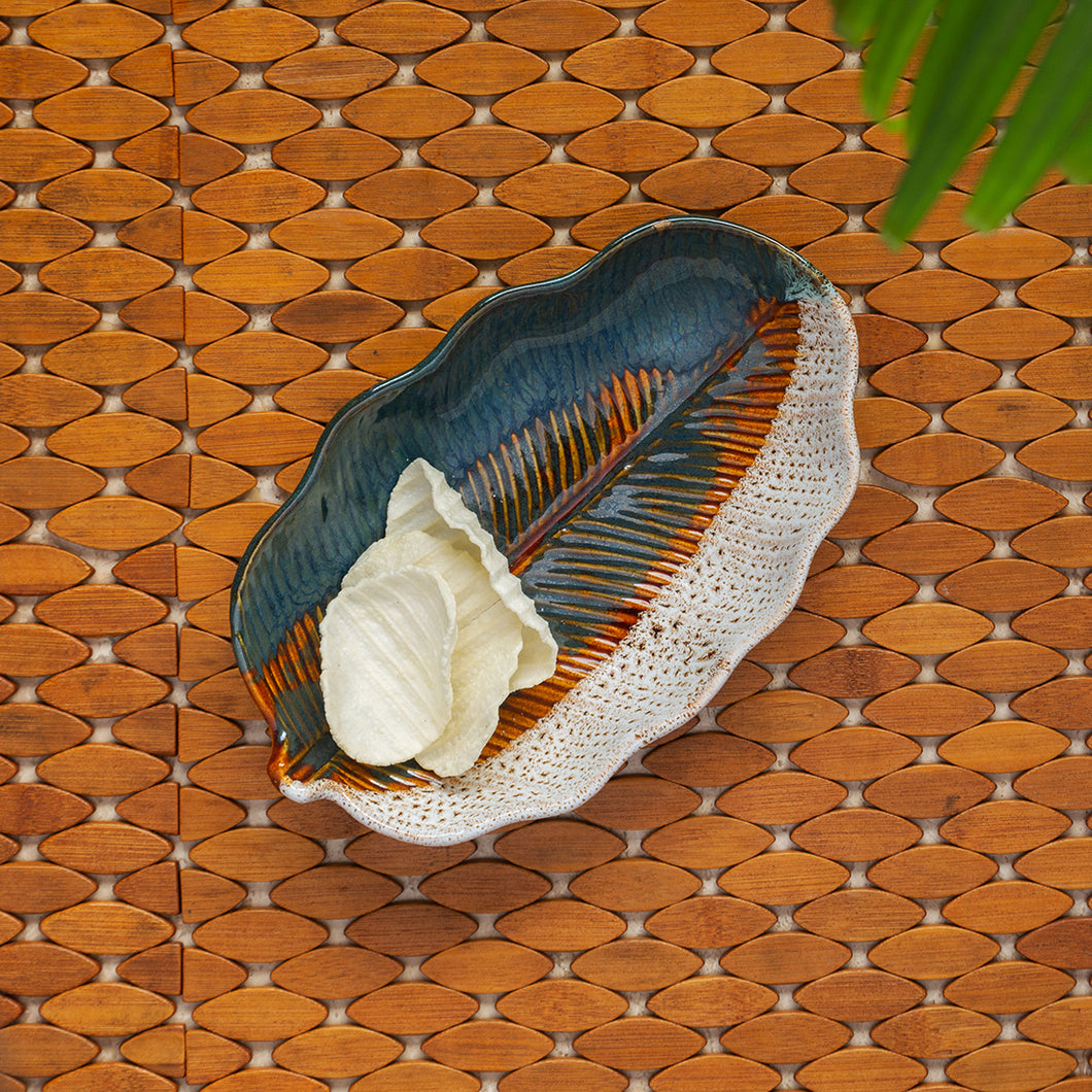 'The Banana Leaf' Serving Platter In Ceramic (9.8 Inch, Microwave Safe)