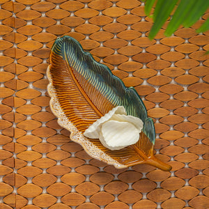 'The Banana Leaf' Serving Platter In Ceramic (12.5 Inch, Microwave Safe)