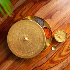 'Floral-Etched' Handcrafted Spice Box In Brass With Spoon (7 Containers, 100 ML)