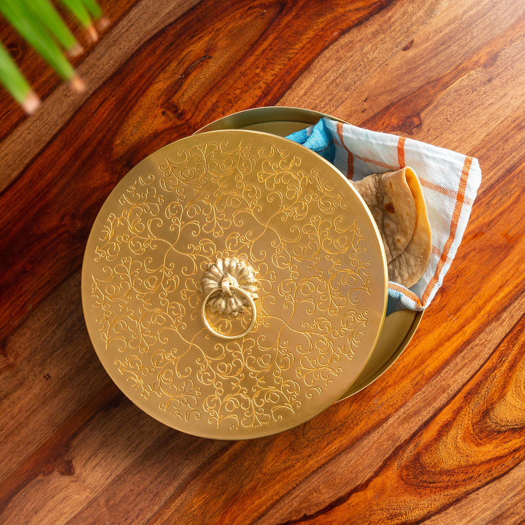 'Floral-Etched' Handcrafted Chapati Box In Brass