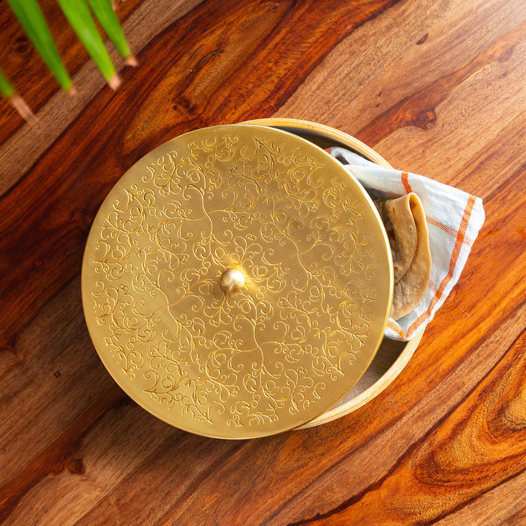 'Floral-Etched' Handcrafted Chapati Box In Brass & Mango Wood