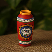 Load image into Gallery viewer, Terracotta Handpainted Warli Vase Tappered Red 6 Inch