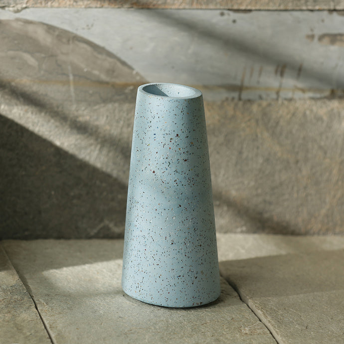 'The Sky Blue Urn' Handcrafted Terrazzo Vase In Concrete (6 Inch)
