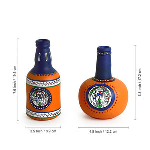 """Orange Duet"" Warli Hand-Painted Vases In Earthen Terracotta (Set of 2, Orange)"