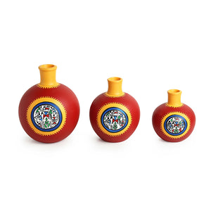 """Red Matki Trio"" Warli Hand-Painted Vases In Earthen Terracotta (Set of 3, Tango Red)"