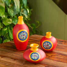 "Load image into Gallery viewer, ""Red Pear & Matkis Trio"" Warli Hand-Painted Vases In Earthen Terracotta (Set of 3, Tango Red)"