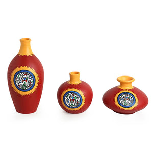 """Red Pear & Matkis Trio"" Warli Hand-Painted Vases In Earthen Terracotta (Set of 3, Tango Red)"