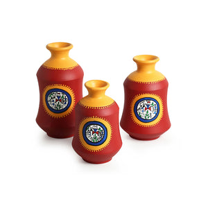 """Red Bottle Trio"" Warli Hand-Painted Vases In Earthen Terracotta (Set of 3, Tango Red)"