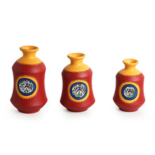 "Load image into Gallery viewer, ""Red Bottle Trio"" Warli Hand-Painted Vases In Earthen Terracotta (Set of 3, Tango Red)"
