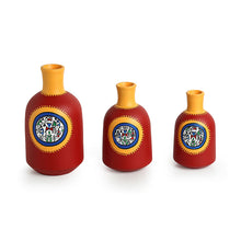 "Load image into Gallery viewer, ""Red Bottle Triplets"" Warli Hand-Painted Vases In Earthen Terracotta (Set of 3, Tango Red)"