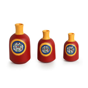 """Red Bottle Triplets"" Warli Hand-Painted Vases In Earthen Terracotta (Set of 3, Tango Red)"
