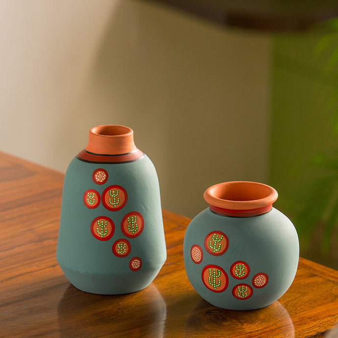 'Desert Matki & Bottle' Hand-Painted Vases In Terracotta (Set of 2, Turquoise Blue)