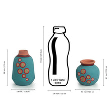 Load image into Gallery viewer, 'Desert Matki & Bottle' Hand-Painted Vases In Terracotta (Set of 2, Turquoise Blue)