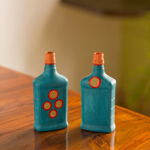 'Oasis Flasks' Hand-Painted Money Planter Bottle Vases In Glass (Set of 2, Turquoise Blue)