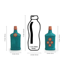 Load image into Gallery viewer, 'Oasis Flasks' Hand-Painted Money Planter Bottle Vases In Glass (Set of 2, Turquoise Blue)