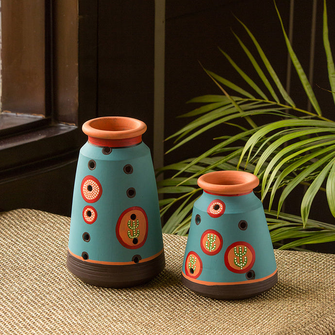 'Desert Matki Duo' Hand-Painted Vases In Terracotta (Set of 2, Turquoise Blue)