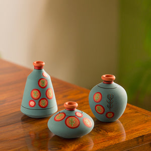 'Desert Matki Trio' Hand-Painted Vases In Terracotta (Set of 3, Turquoise Blue)