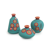 Load image into Gallery viewer, 'Desert Matki Trio' Hand-Painted Vases In Terracotta (Set of 3, Turquoise Blue)