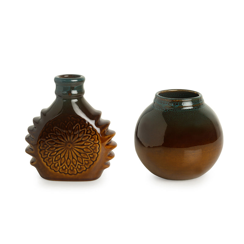 'Amber & Teal' Studio Pottery Vases In Ceramic (Set of 3)