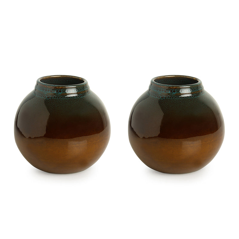'Amber & Teal' Studio Pottery Vases In Ceramic (Set of 2)