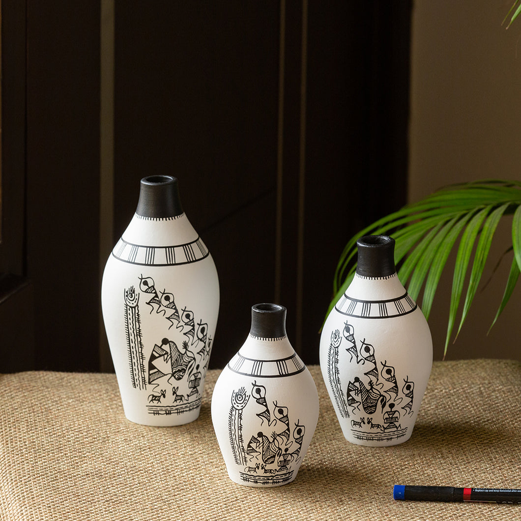 'The Warli Tales' Hand-Painted Vases In Terracotta (Set of 3, White)