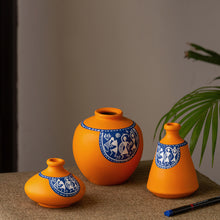 Load image into Gallery viewer, 'The Warli Tales' Hand-painted Vases In Terracotta (Set of 3, Orange)
