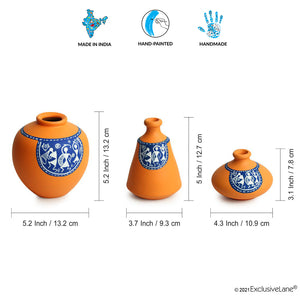 'The Warli Tales' Hand-painted Vases In Terracotta (Set of 3, Orange)