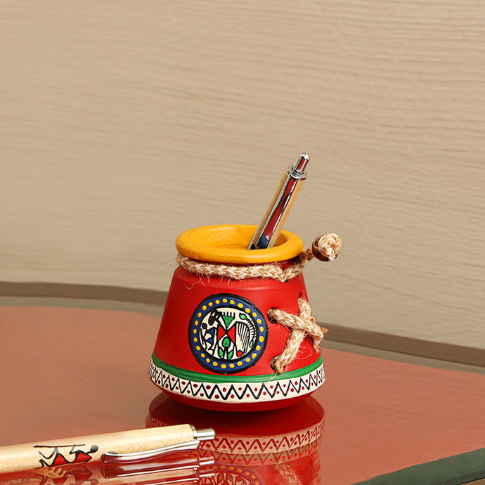 Terracotta Warli Handpainted  Pen Stand Knitted Red