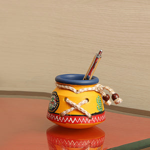 Terracotta Warli Handpainted Pen Stand Knitted Yellow
