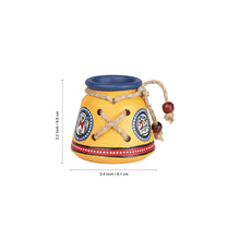 Load image into Gallery viewer, Terracotta Warli Handpainted Pen Stand Knitted Yellow