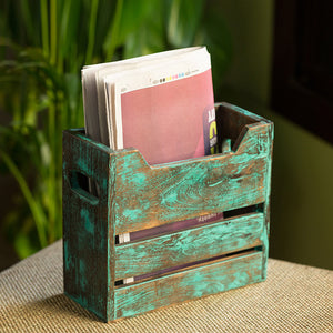 'Rustic Crate' Antique Finish Table Magazine Holder In Mango Wood