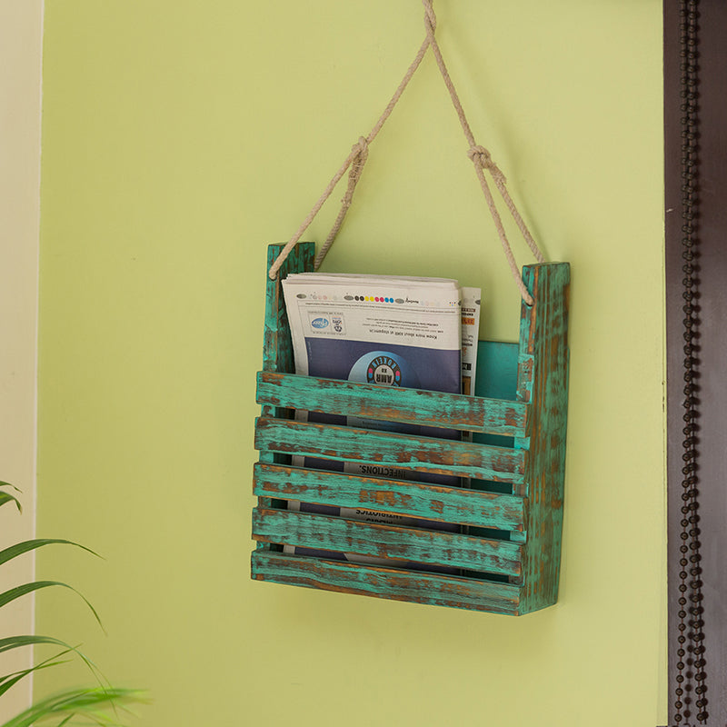 'Rustic Messengers' Antique Finish Wall Magazine Stand In Mango Wood