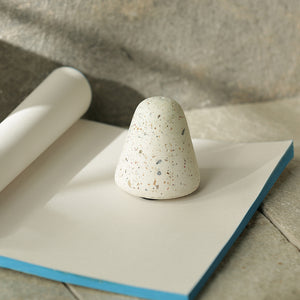'The White Frustum' Handcrafted Terrazzo Frustum Paperweight In Concrete