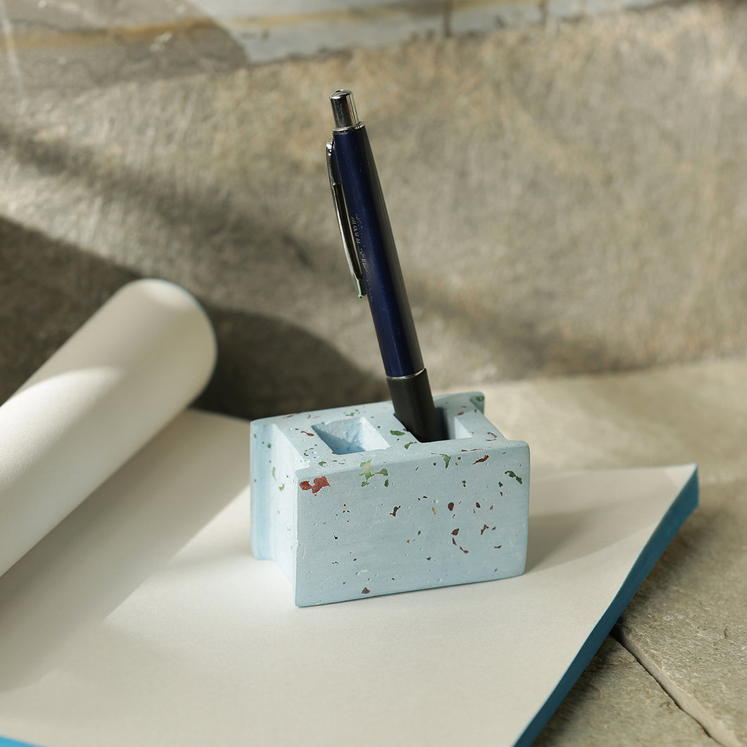 'The Rectangular Essentials' Handcrafted Terrazzo Pen Stand & Paperweight In Concrete