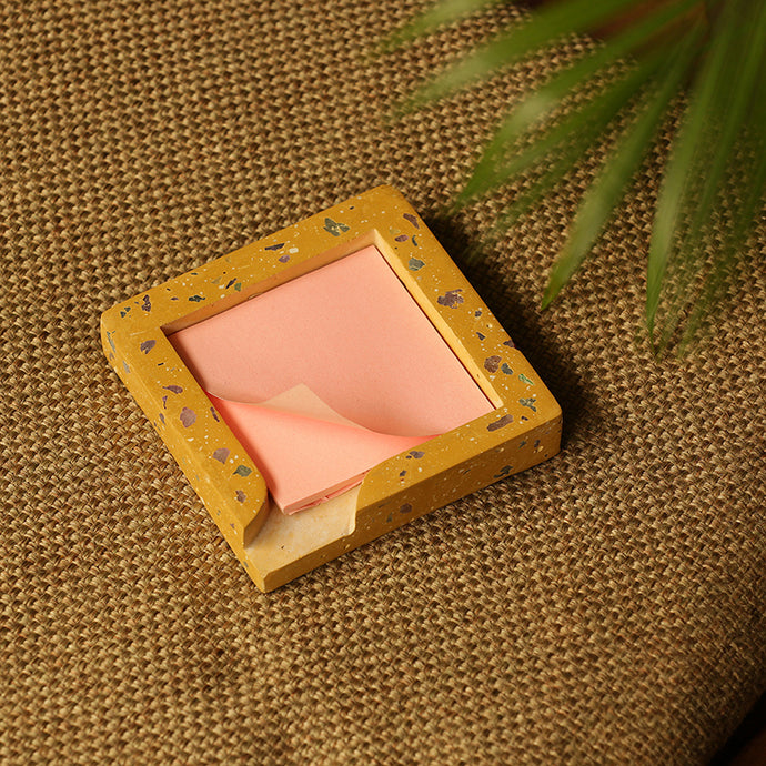 'Stick The Square' Handcrafted Terrazzo Sticky Note Holder In Concrete