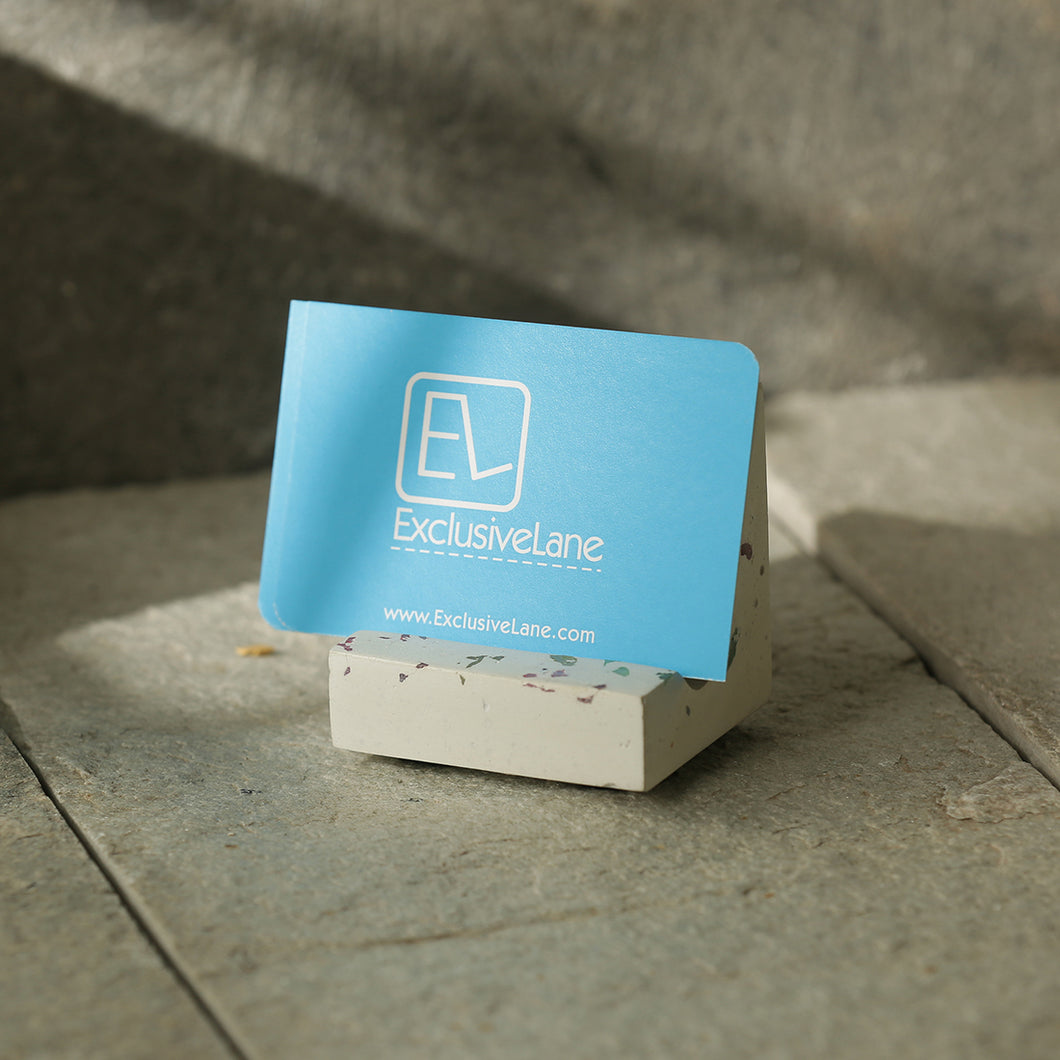 'The White Essential' Handcrafted Terrazzo Card Holder & Mobile Stand In Concrete