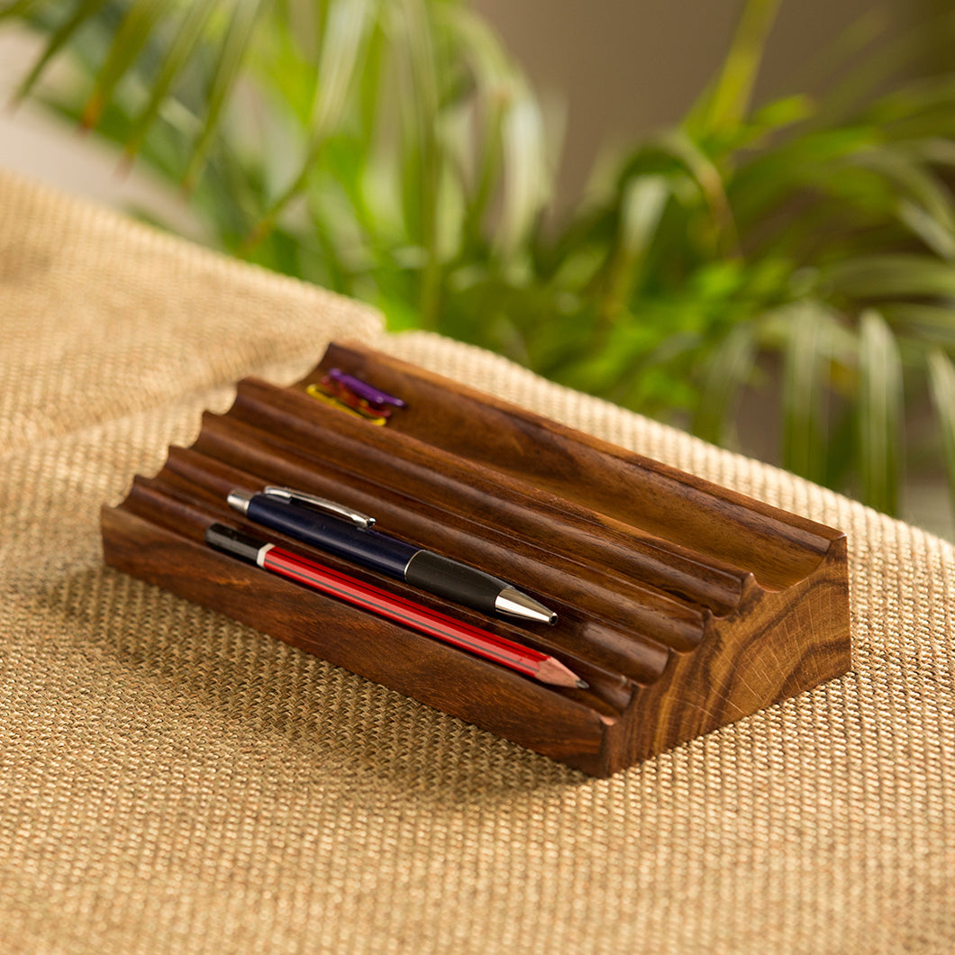 'Staircase Organiser' Handcrafted Pen Stand In Sheesham Wood