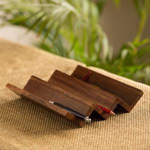 'Zig-Zag Organiser' Handcrafted Pen Stand In Sheesham Wood