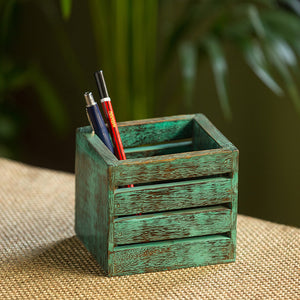 'Rustic Cube' Antique Finish Stationery Cum Cutlery Holder In Mango Wood