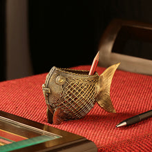 "Load image into Gallery viewer, ""Golden Fish"" Brass Pen Stand Handmade in Dhokra Art"