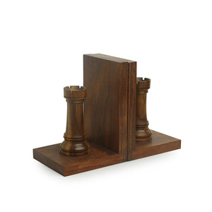 Handcarved Chess Rook Book Ends In Sheesham Wood