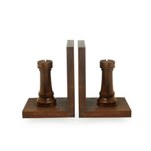 Load image into Gallery viewer, Handcarved Chess Rook Book Ends In Sheesham Wood