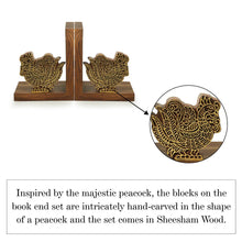 Load image into Gallery viewer, 'The Dancing Peacock' Hand Carved Book Ends in Sheesham Wood