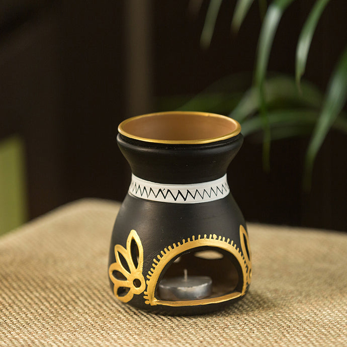 'Terra Glow' Hand-Painted Aroma Diffuser In Terracotta (5 Inches)