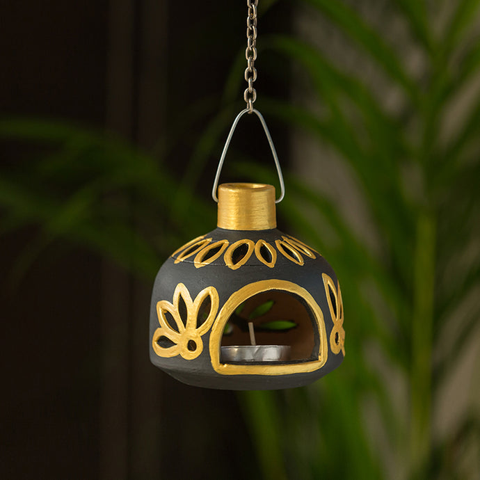 'Glowing Matki' Hand-Painted Hanging Tea Light Holder In Terracotta