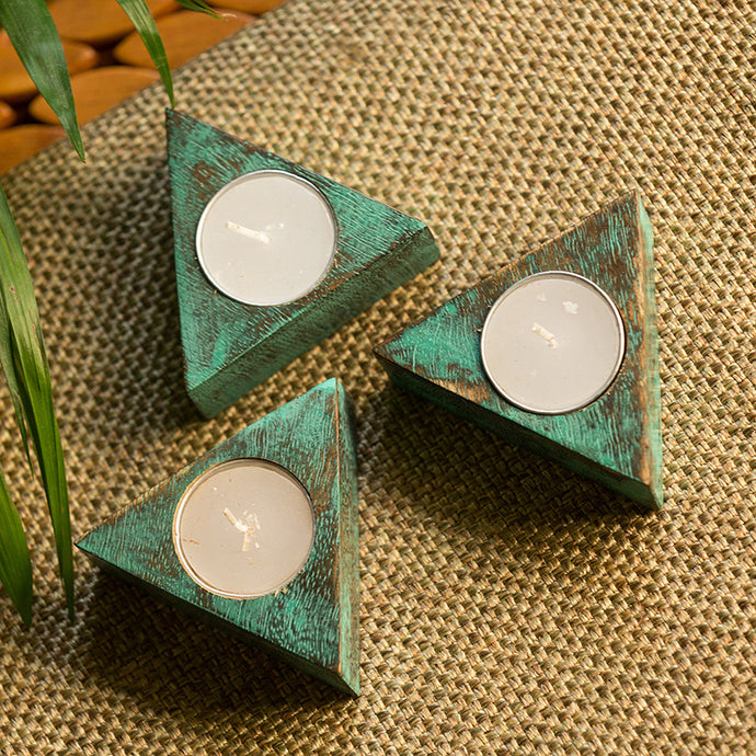 'Rustic Triangles' Antique Finish Tea Light Holders In Mango Wood (Set of 3)