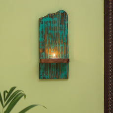 'Rustic Radiance' Antique Finish Wall Tea Light Holder In Mango Wood & Sheesham Wood